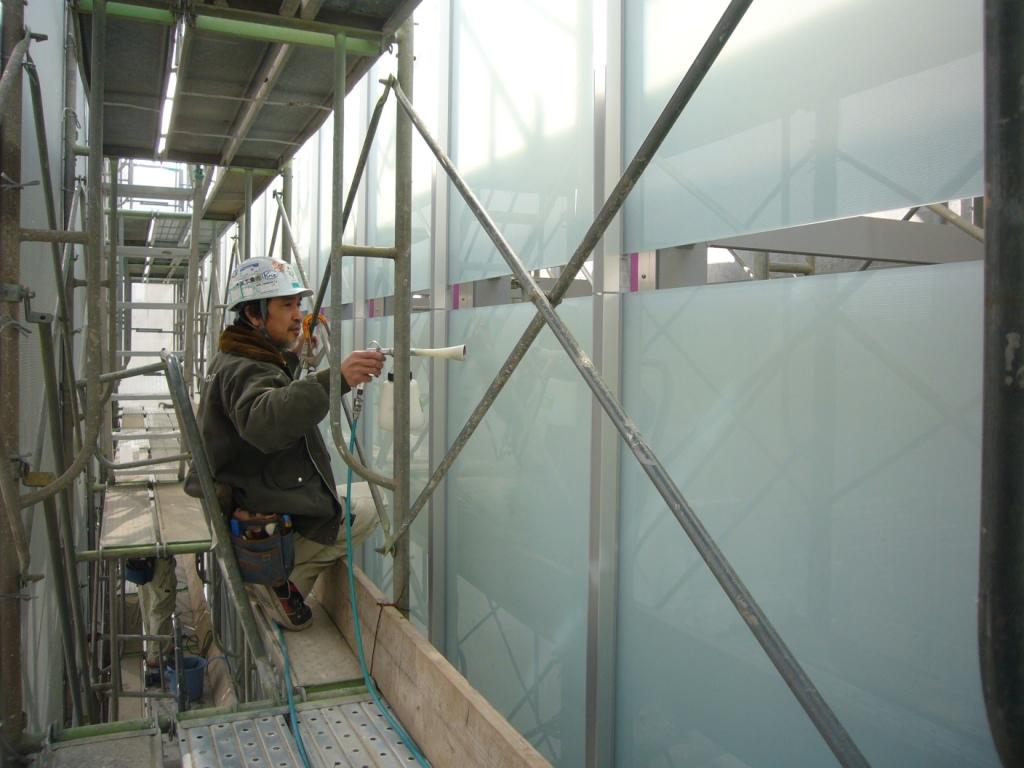 島根県 松江市 某銀行改修工事 ハイドロテクトガラスコーティング